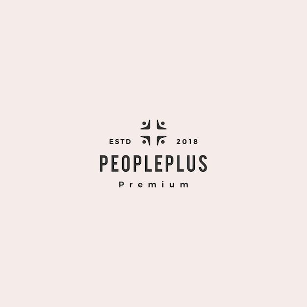 Mensen plus familie zorggroep logo pictogram Premium Vector