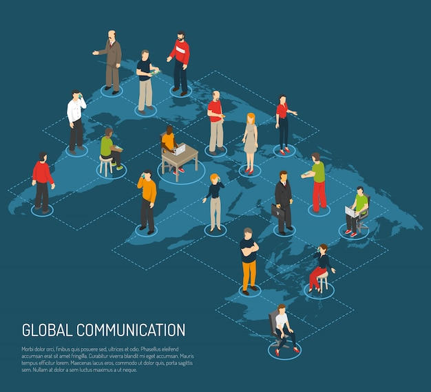 Mensen poster van wereldwijde communicatie Gratis Vector