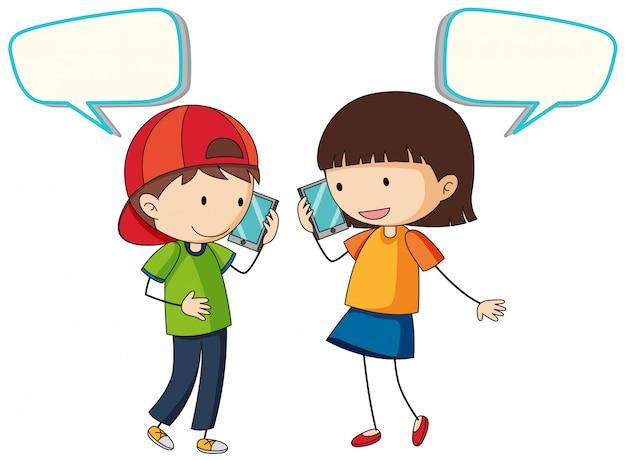 Mensen praten over de telefoon Gratis Vector