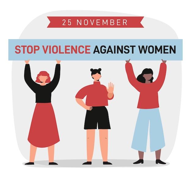 Mensen protesteren voor de uitbanning van geweld tegen vrouwen Premium Vector