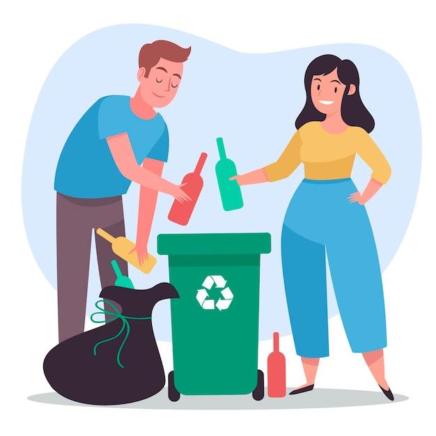 Mensen recyclen met afval en prullenbak Gratis Vector