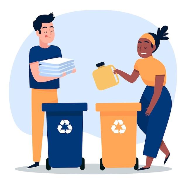 Mensen recyclen met bakken Gratis Vector