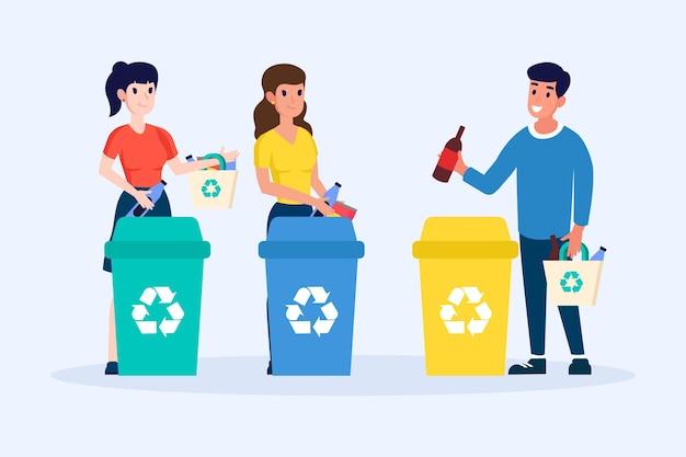 Mensen recyclen pack Gratis Vector