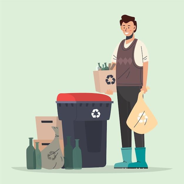 Mensen recyclen Gratis Vector