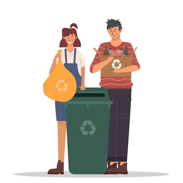 Mensen recycling concept Gratis Vector