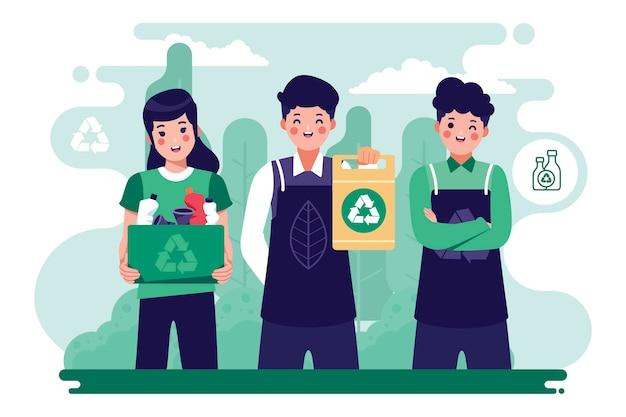 Mensen redden de planeet door te recyclen Gratis Vector
