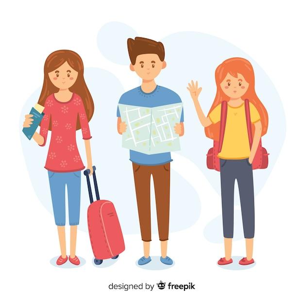 Mensen reizen collectie Gratis Vector
