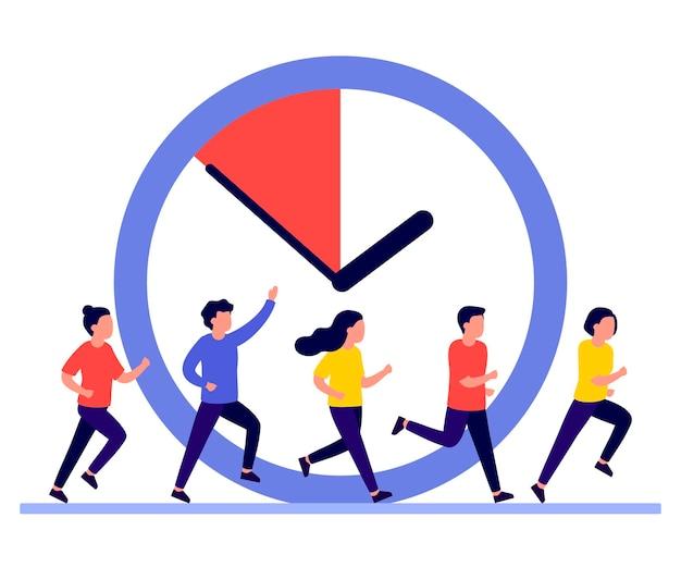 Mensen rennen omdat de tijd dringt Premium Vector