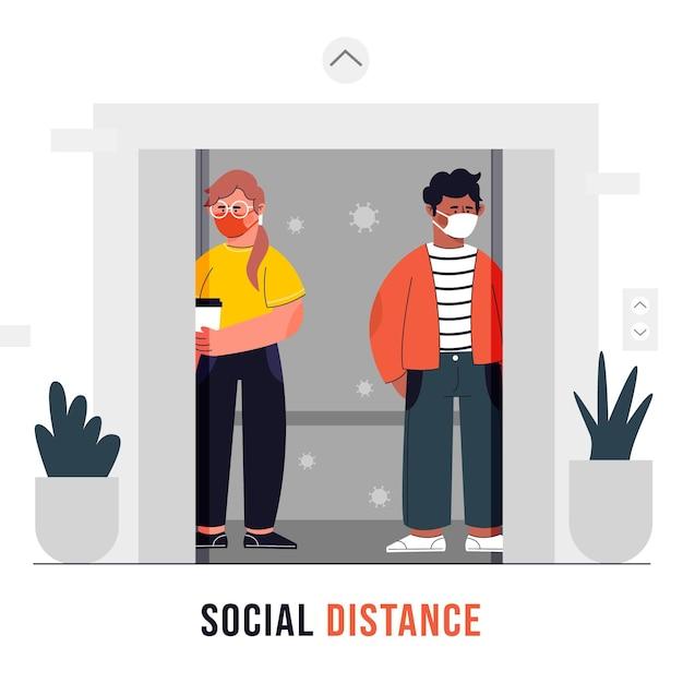 Mensen respecteren de sociale afstand in een lift Premium Vector