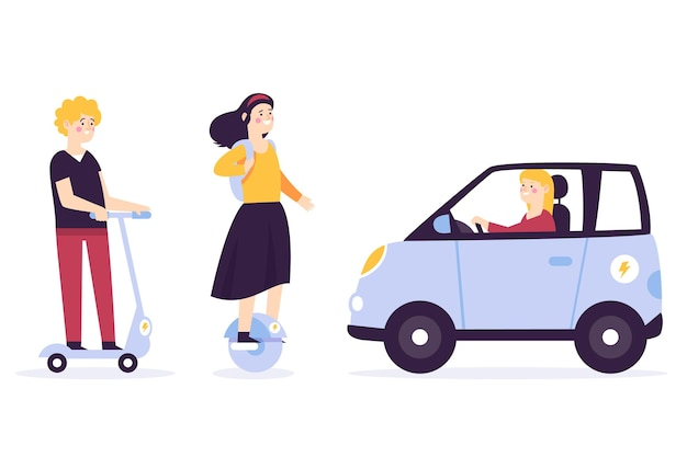 Mensen rijden elektrisch transport pack Gratis Vector
