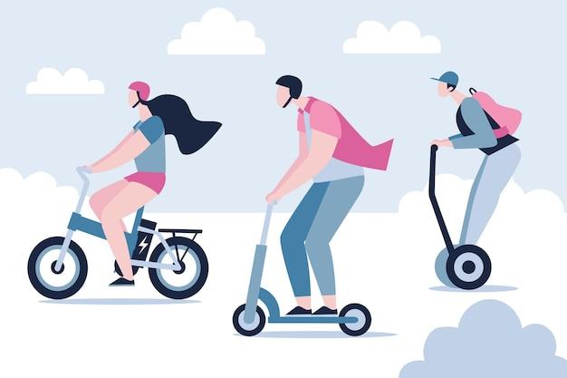 Mensen rijden elektrisch vervoer collectie Gratis Vector