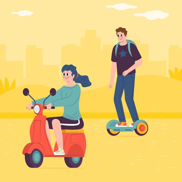 Mensen rijden elektrisch vervoer Premium Vector