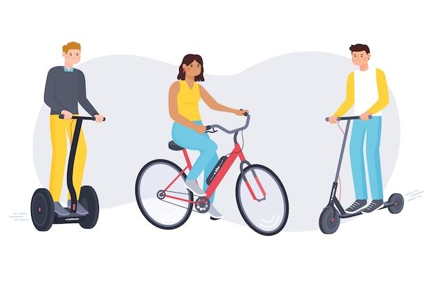 Mensen rijden elektrisch vervoer Gratis Vector