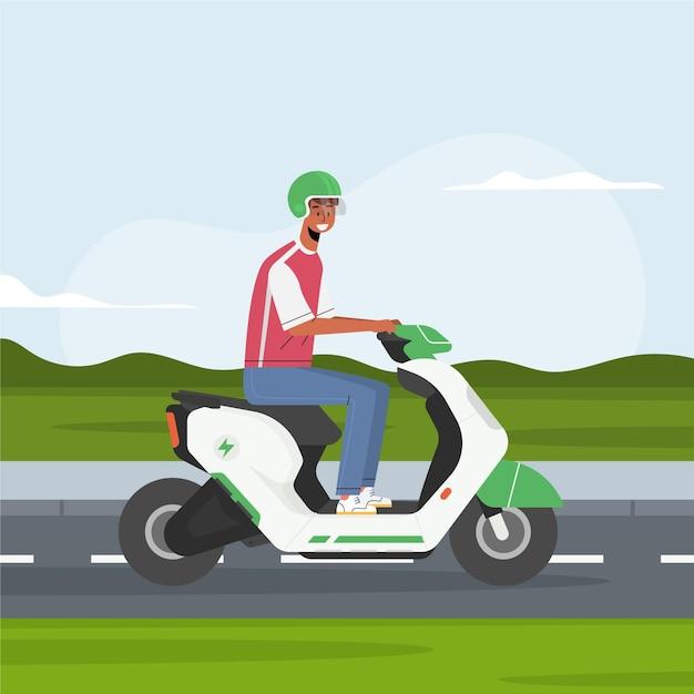 Mensen rijden elektrische scooter Gratis Vector