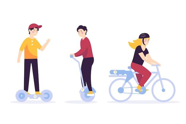 Mensen rijden elektrische transportset Gratis Vector