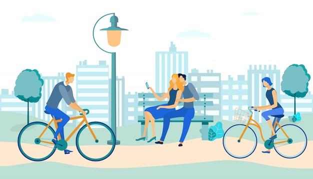 Mensen rijden fietsen, paar op bank in park. Premium Vector