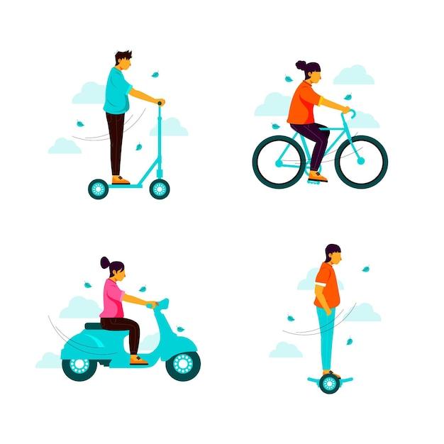 Mensen rijden met hun elektrisch persoonlijk vervoer Gratis Vector