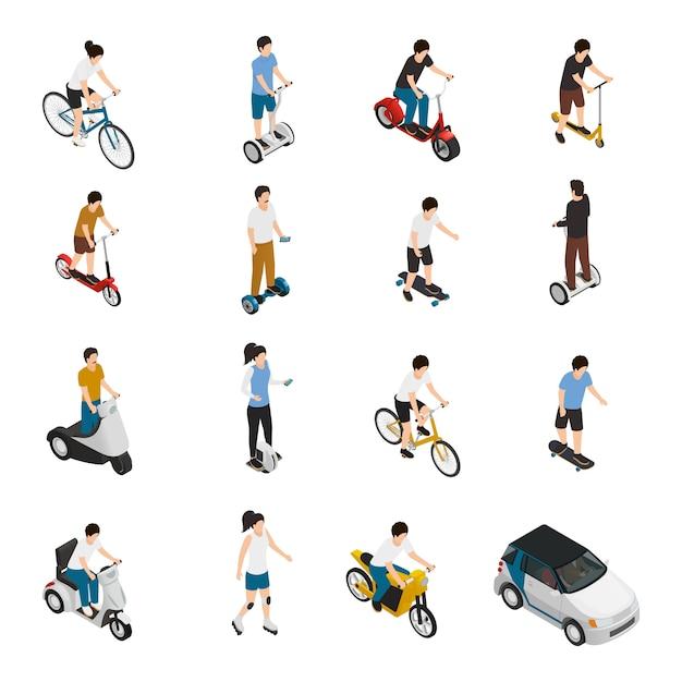 Mensen rijden persoonlijke eco-voertuigen Gratis Vector