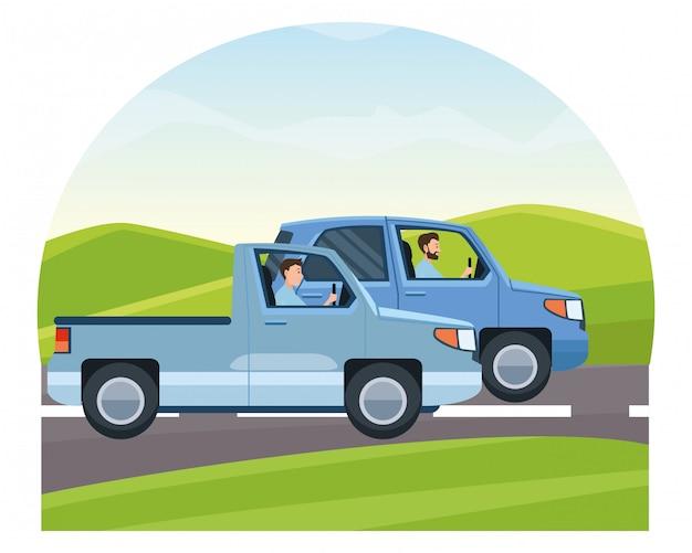Mensen rijden voertuigen in het verkeer Premium Vector