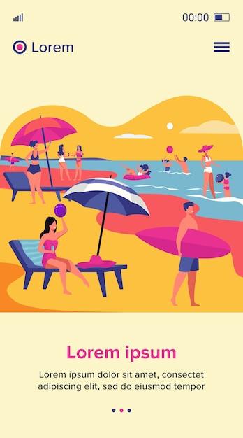 Mensen rusten op zee strand in de zomer. vrouwen en mannen die onder paraplu zwemmen en zitten. vakantie vrijetijdsconcept voor websiteontwerp of bestemmingswebpagina Gratis Vector