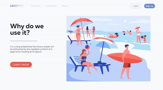Mensen rusten op zee strand in de zomer Gratis Vector