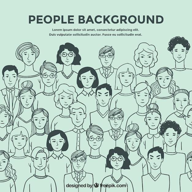 Mensen schetsen achtergrond Gratis Vector