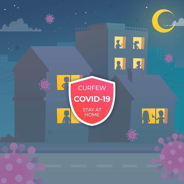 Mensen silhouetteren bij ramen tijdens de avondklok van het coronavirus Gratis Vector