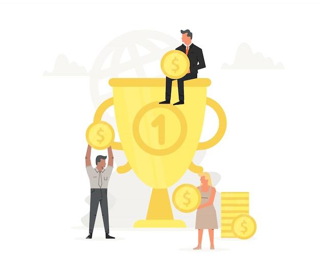 Mensen slaan geld op en verzamelen het in een grote trofee. Premium Vector