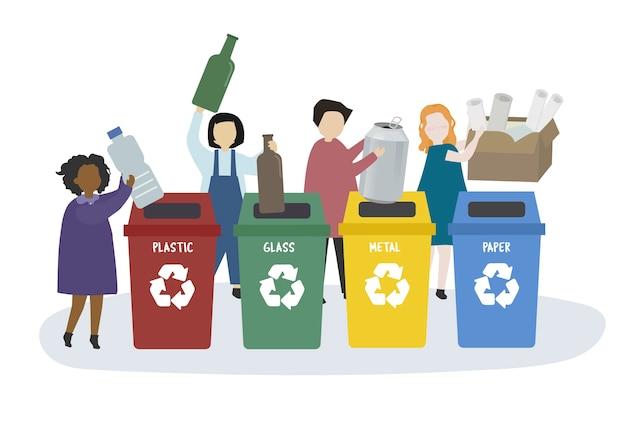 Mensen sorteren afval in prullenbakken Gratis Vector