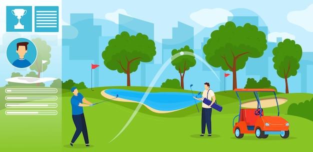 Mensen spelen golf illustratie. Premium Vector