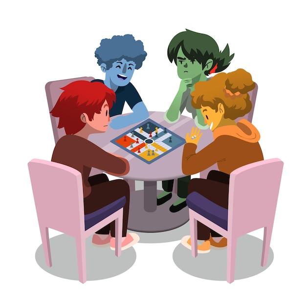 Mensen spelen ludo-spel Gratis Vector