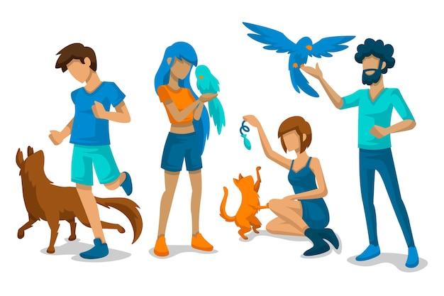 Mensen spelen met hun huisdieren Gratis Vector
