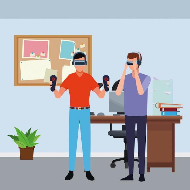 Mensen spelen met virtual reality-bril Premium Vector