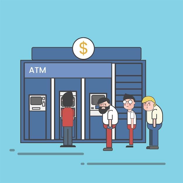 Mensen staan in de rij om geld op te nemen of te storten op atm-illustratie Gratis Vector