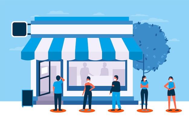 Mensen staan in een winkelwachtrij Gratis Vector