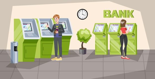 Mensen staan in het bankkantoor bij atm. geld verdienen Premium Vector