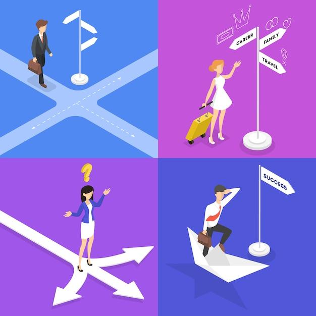 Mensen staan op het kruispunt en denken set. zakenman kiezen richting van de weg. moeilijke keuze van toekomstige strategie. isometrische illustratie Premium Vector