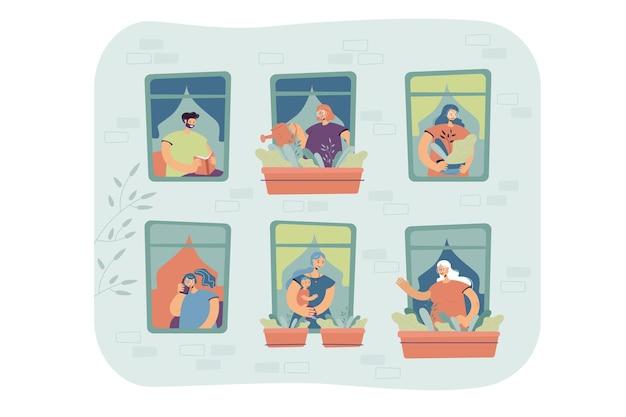 Mensen staan voor ramen in hun appartement, huisplanten water geven, praten over de cel, genieten van vrije tijd. externe weergave van de gevel van het gebouw Gratis Vector