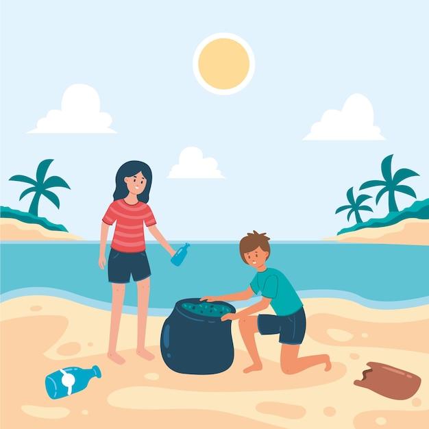 Mensen strand schoonmaken Gratis Vector