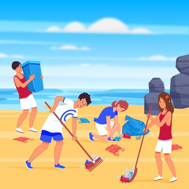 Mensen strandstijl schoonmaken Gratis Vector