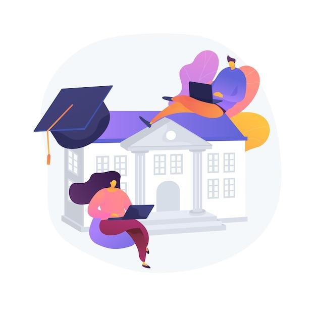 Mensen studeren op afstand, e leren. thuisonderwijs, afstandsonderwijs, online college. universitaire studenten met laptops, internettrainingen. Gratis Vector