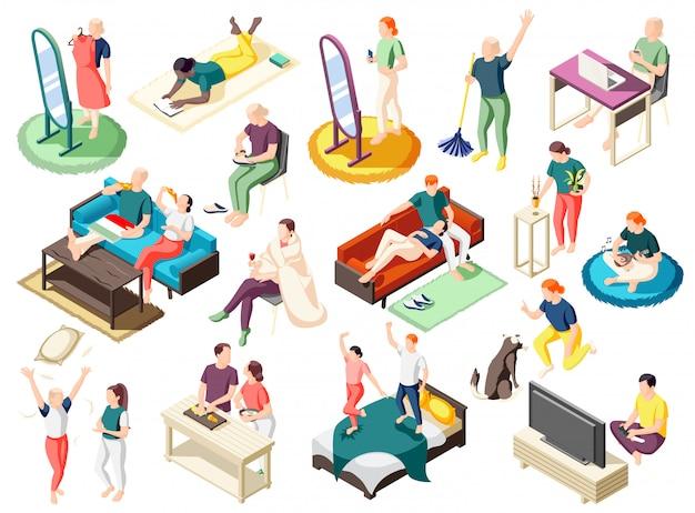 Mensen tijdens verschillende activiteit thuis op weekend set isometrische pictogrammen geïsoleerd Gratis Vector