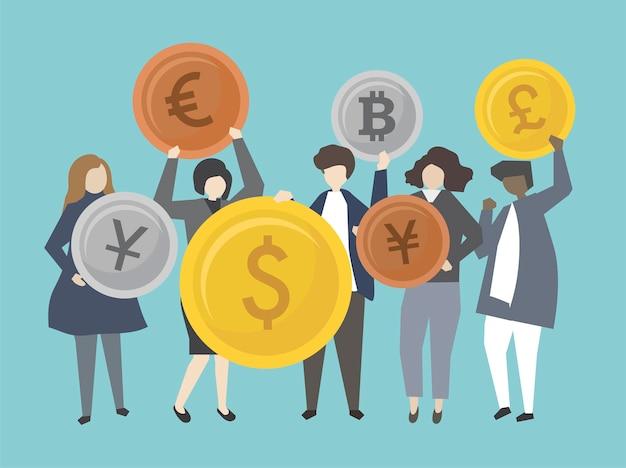 Mensen uit het bedrijfsleven en bankiers met geld illustratie Gratis Vector