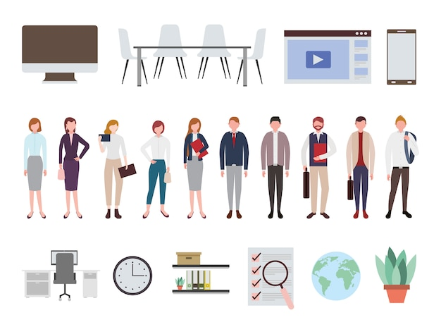 Mensen uit het bedrijfsleven en kantoorapparatuur pictogrammen Gratis Vector