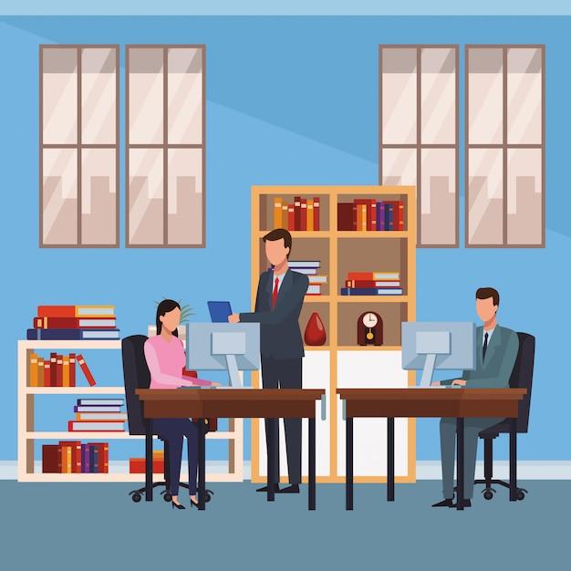 Mensen uit het bedrijfsleven en office-elementen Premium Vector