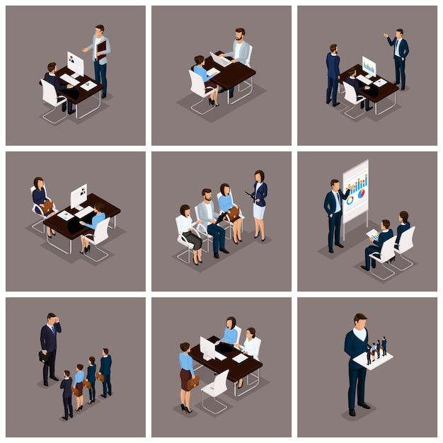 Mensen uit het bedrijfsleven isometrische set van vrouwen en mannen Premium Vector