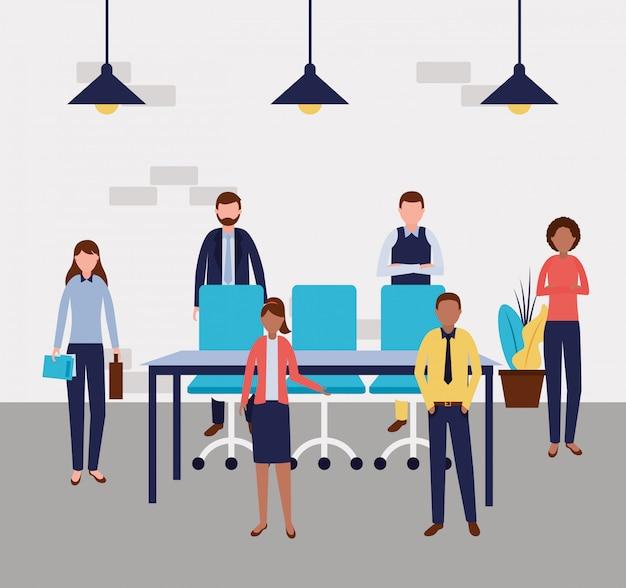 Mensen uit het bedrijfsleven kantoor Gratis Vector