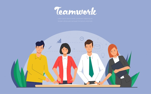 Mensen uit het bedrijfsleven karakter teamwerk aan het verwerken van baan. Premium Vector
