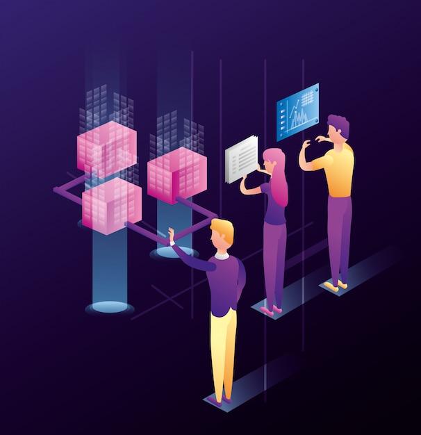 Mensen uit het bedrijfsleven met datacenter netwerkpictogrammen Premium Vector
