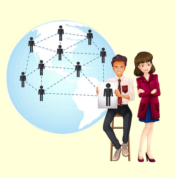 Mensen uit het bedrijfsleven met kaart van de wereld Gratis Vector